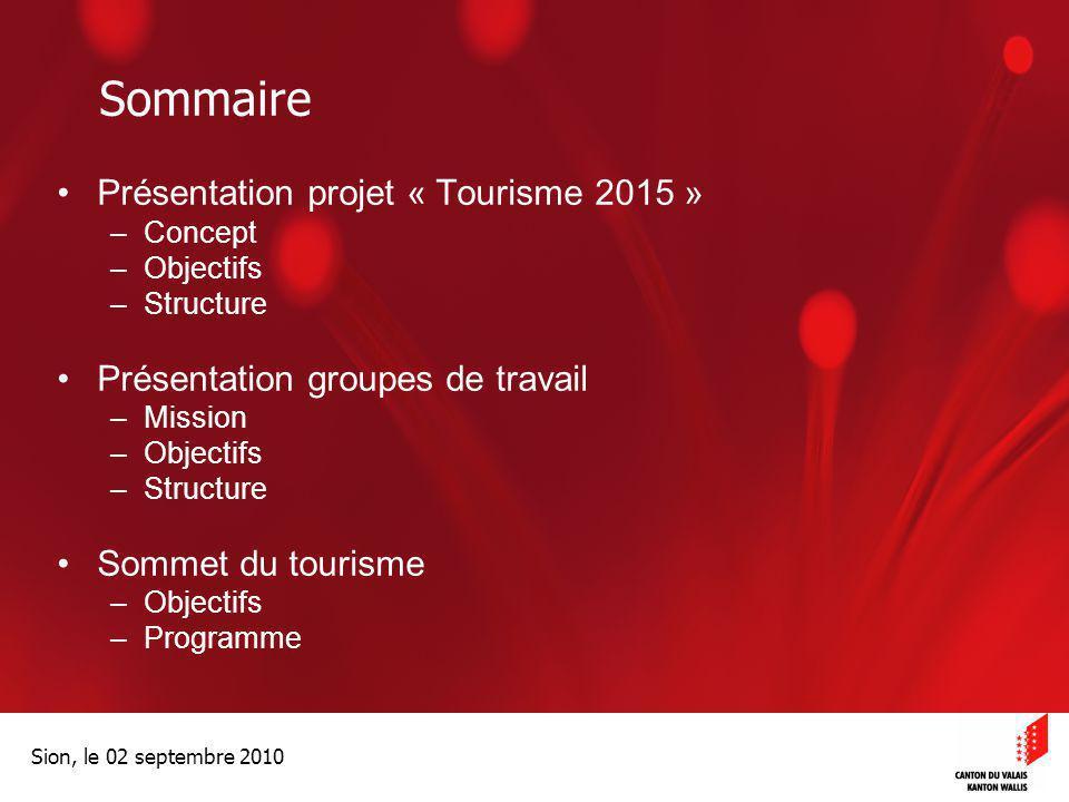 Sommaire Présentation projet « Tourisme 2015 »