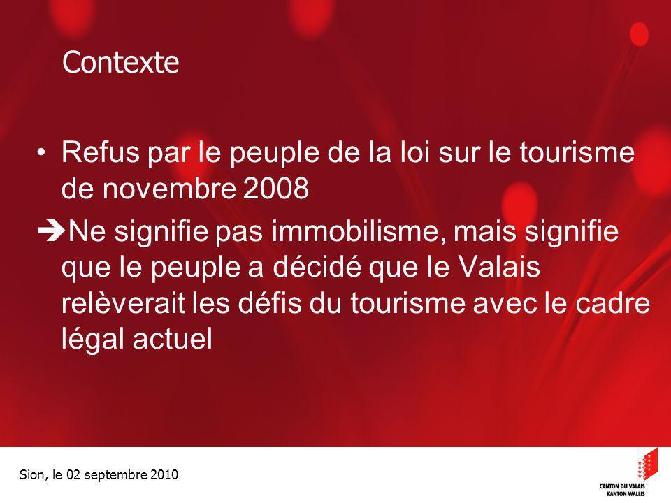 Contexte Refus par le peuple de la loi sur le tourisme de novembre 2008.