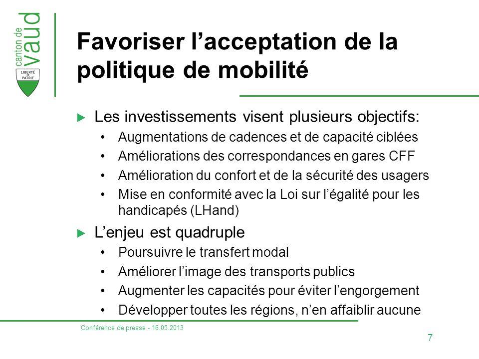 Favoriser l'acceptation de la politique de mobilité