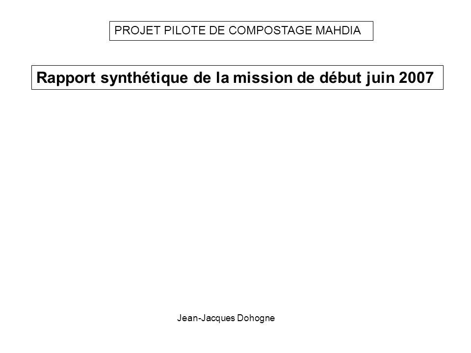Rapport synthétique de la mission de début juin 2007