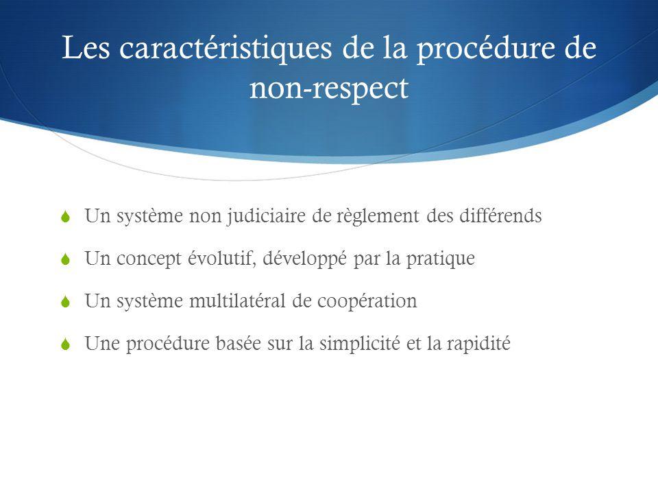 Les caractéristiques de la procédure de non-respect