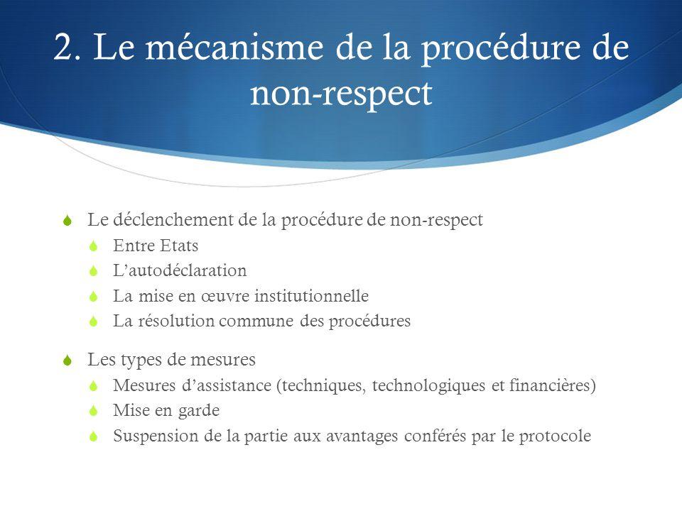 2. Le mécanisme de la procédure de non-respect