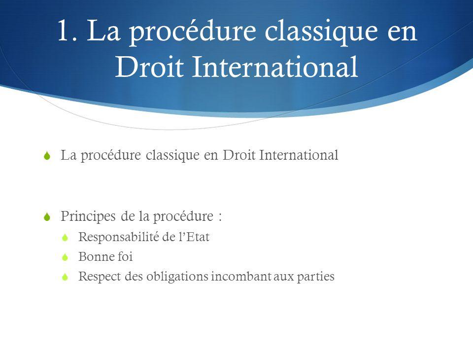 1. La procédure classique en Droit International