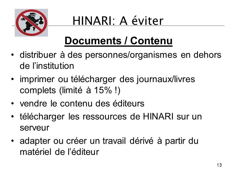HINARI: A éviter Documents / Contenu