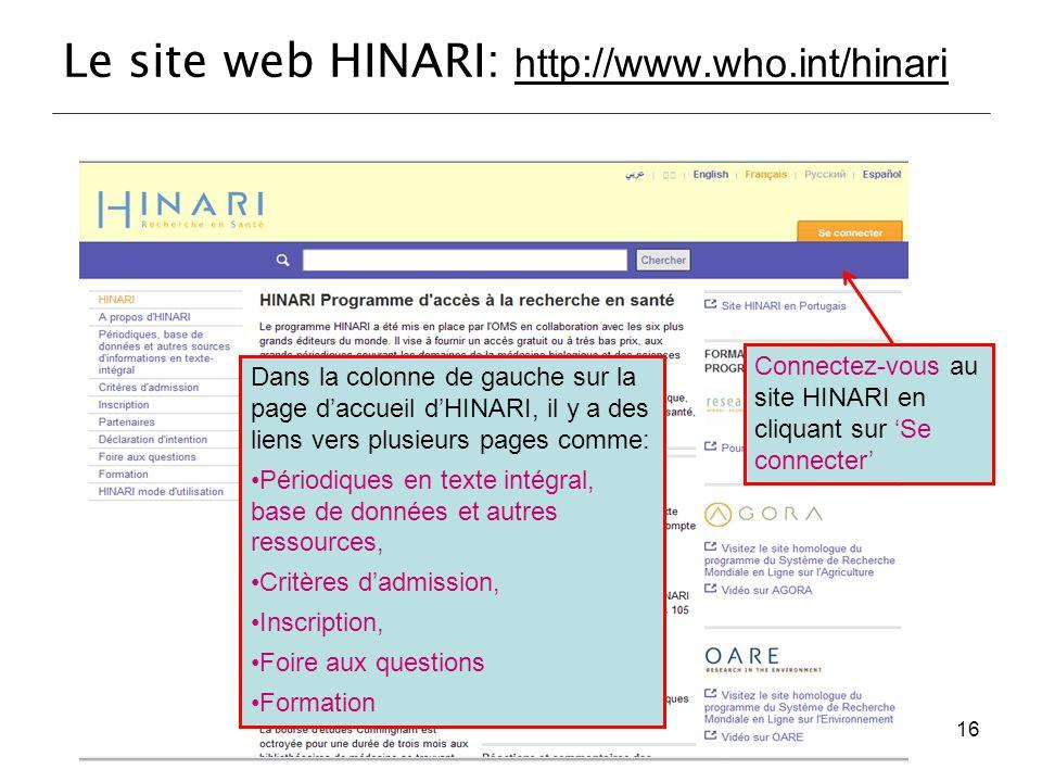 Le site web HINARI: http://www.who.int/hinari