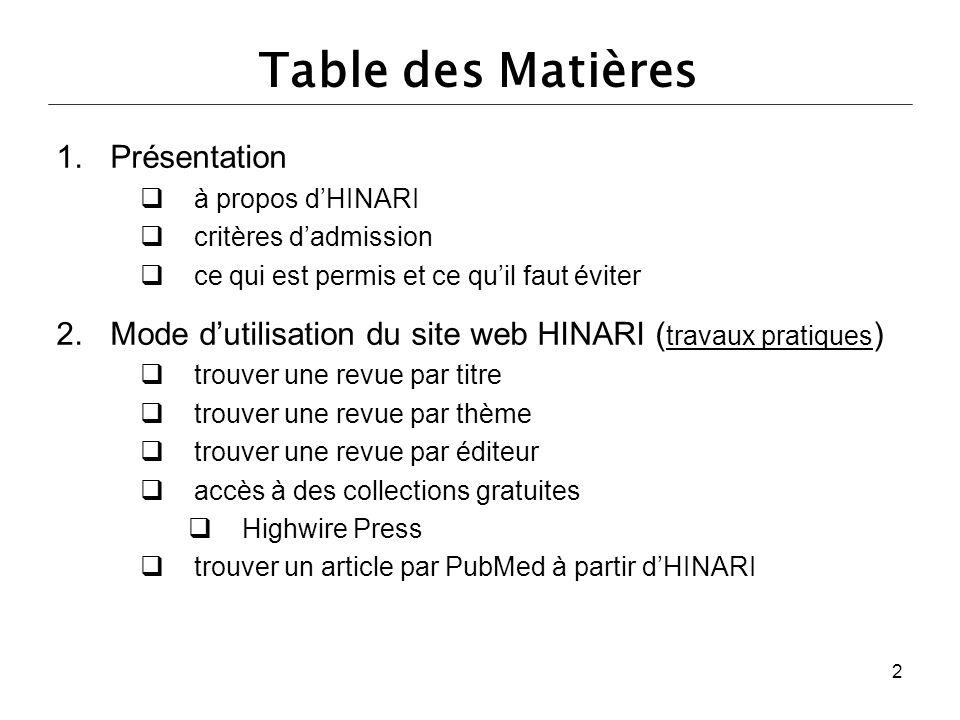 Table des Matières Présentation