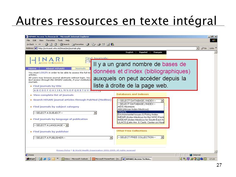 Autres ressources en texte intégral