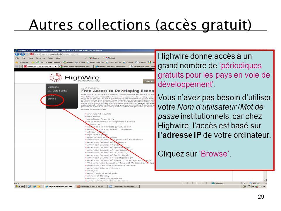 Autres collections (accès gratuit)