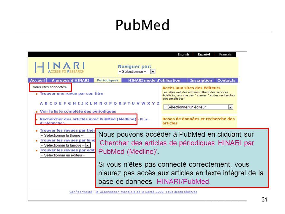 PubMed Nous pouvons accéder à PubMed en cliquant sur 'Chercher des articles de périodiques HINARI par PubMed (Medline)'.
