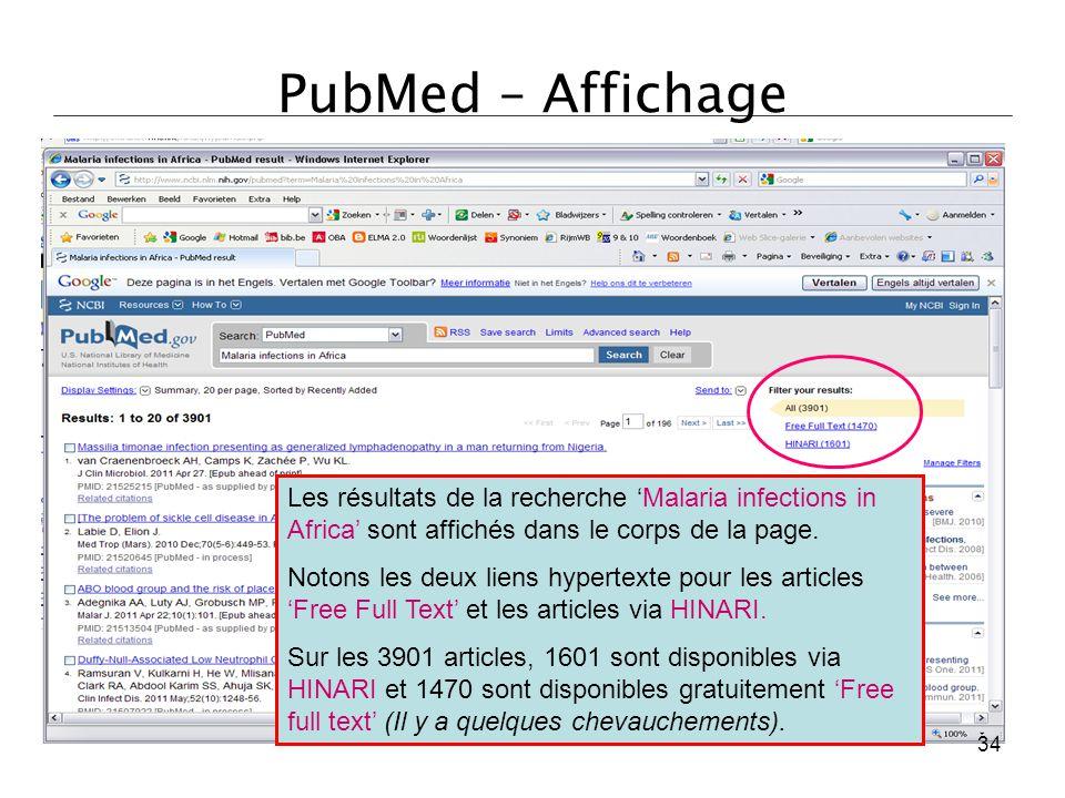 PubMed – Affichage Les résultats de la recherche 'Malaria infections in Africa' sont affichés dans le corps de la page.