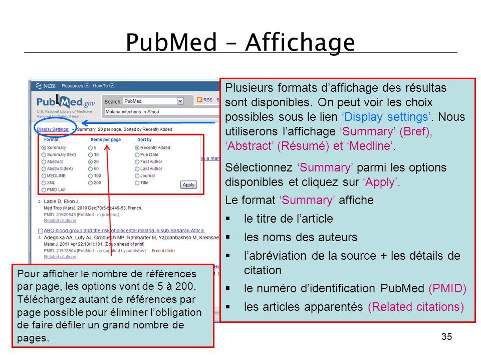 PubMed – Affichage