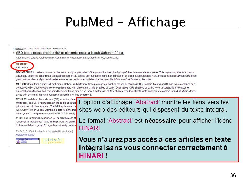 PubMed – Affichage L'option d'affichage 'Abstract' montre les liens vers les sites web des éditeurs qui disposent du texte intégral.