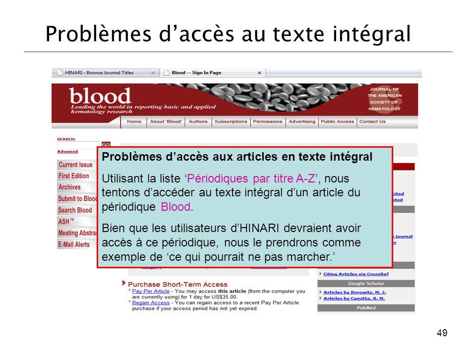 Problèmes d'accès au texte intégral
