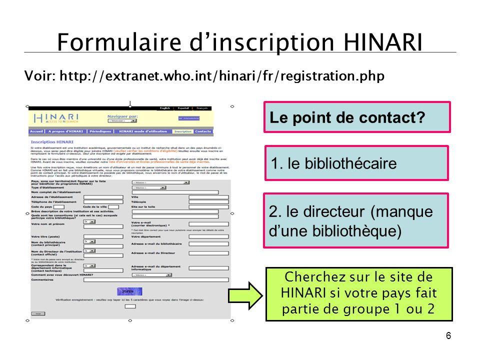 Formulaire d'inscription HINARI