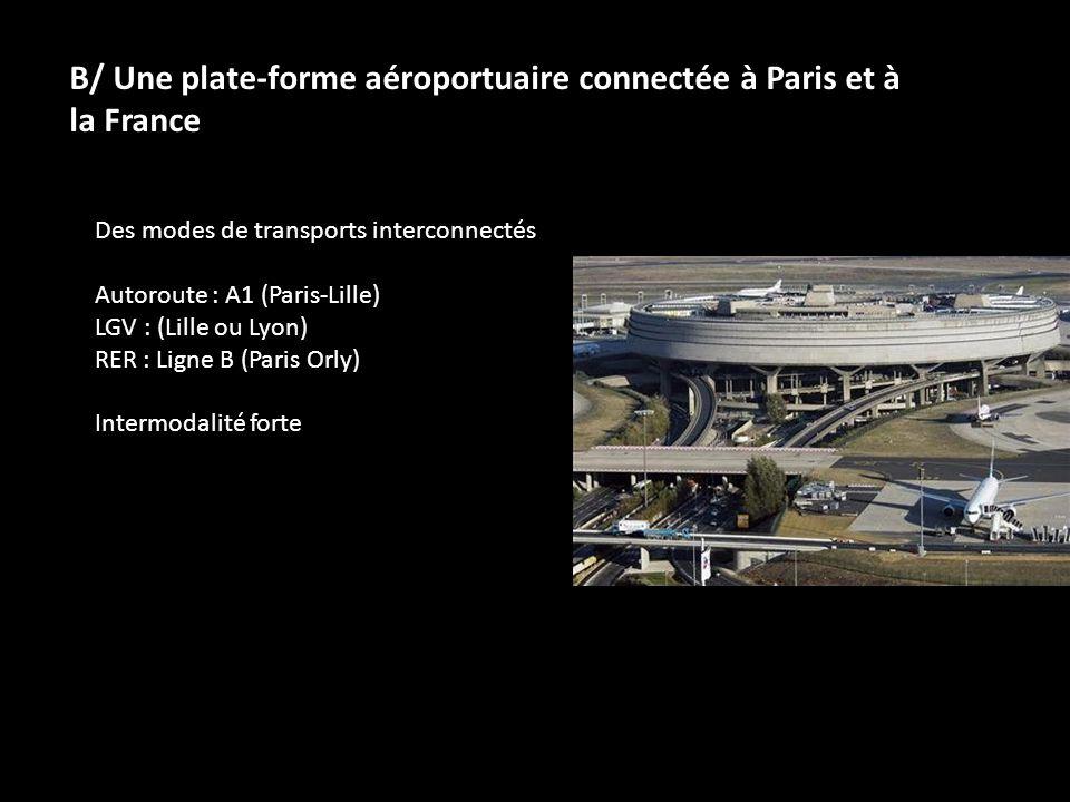 B/ Une plate-forme aéroportuaire connectée à Paris et à la France