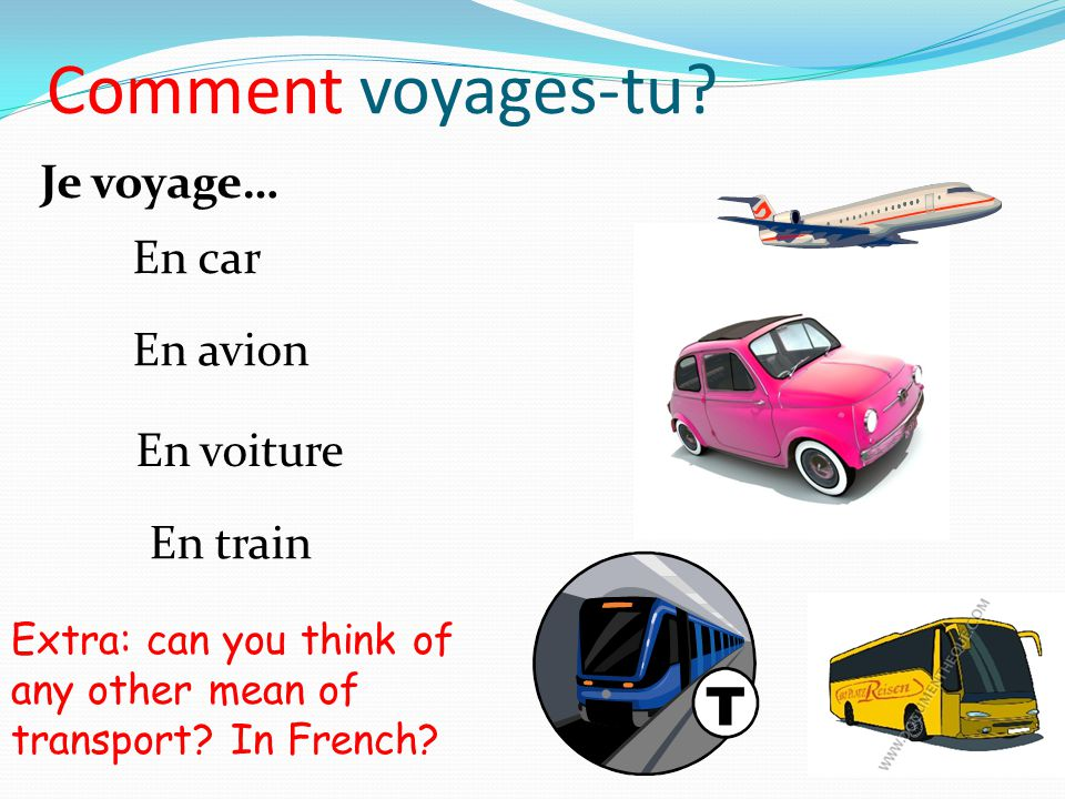 Comment voyages-tu Je voyage… En car En avion En voiture En train