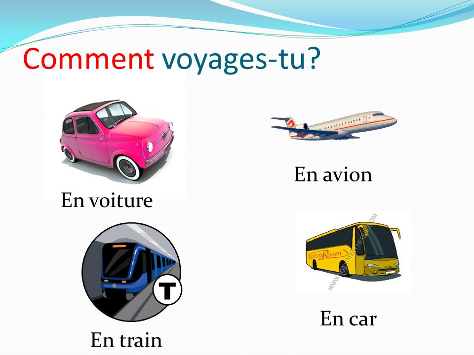 Comment voyages-tu En avion En voiture En car En train