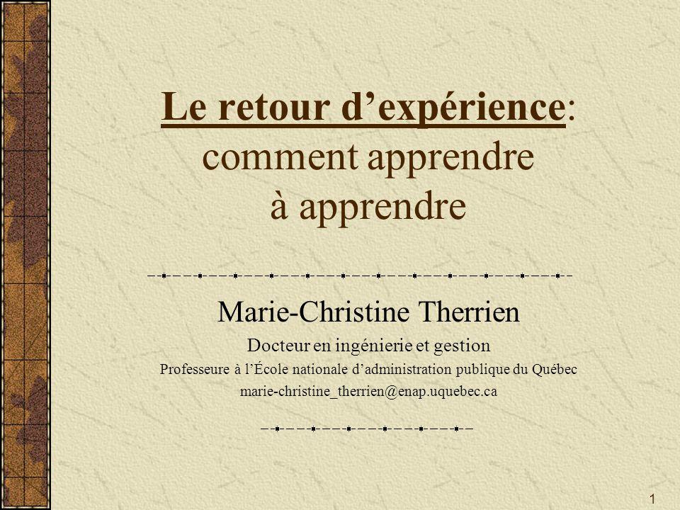 Le retour d'expérience: comment apprendre à apprendre