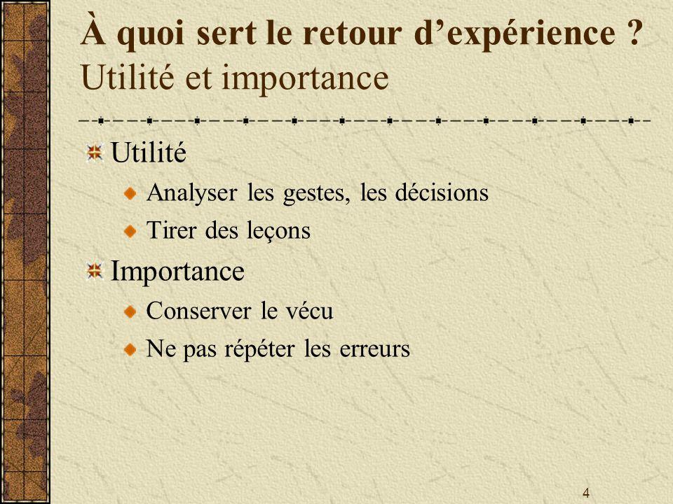 À quoi sert le retour d'expérience Utilité et importance