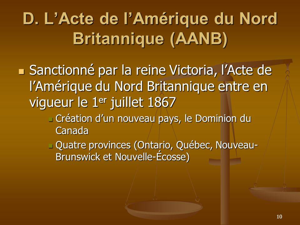 D. L'Acte de l'Amérique du Nord Britannique (AANB)