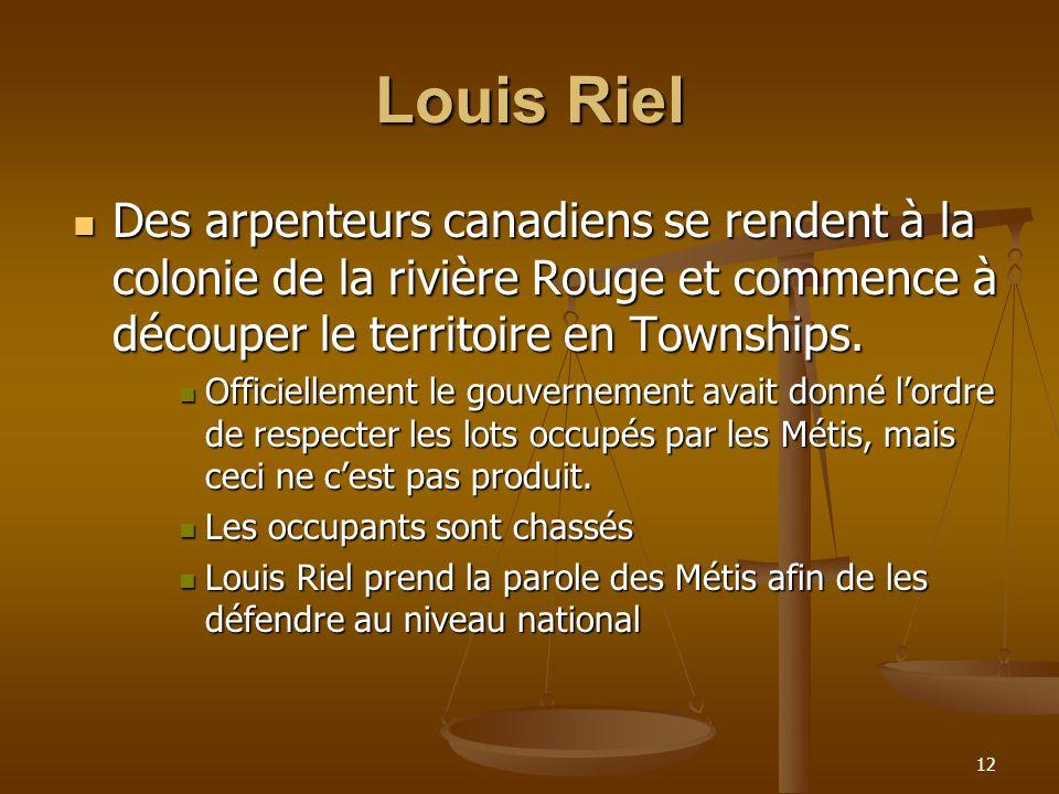 Louis Riel Des arpenteurs canadiens se rendent à la colonie de la rivière Rouge et commence à découper le territoire en Townships.