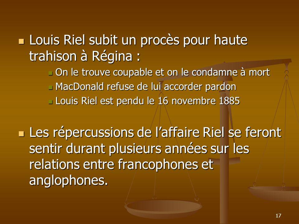 Louis Riel subit un procès pour haute trahison à Régina :