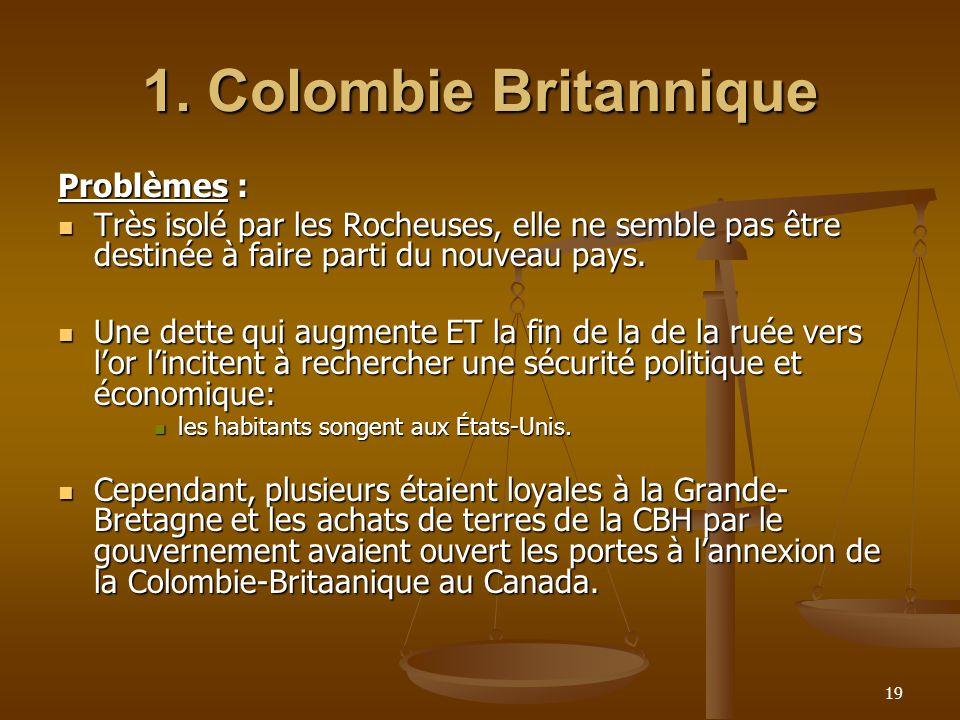 1. Colombie Britannique Problèmes :