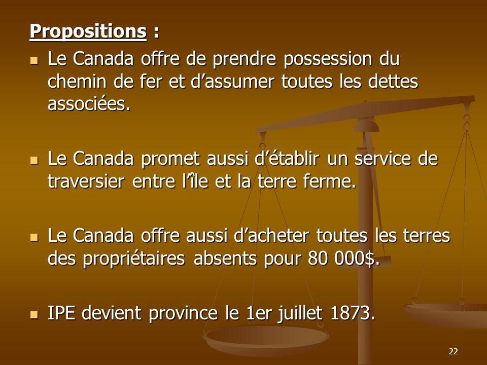 Propositions : Le Canada offre de prendre possession du chemin de fer et d'assumer toutes les dettes associées.