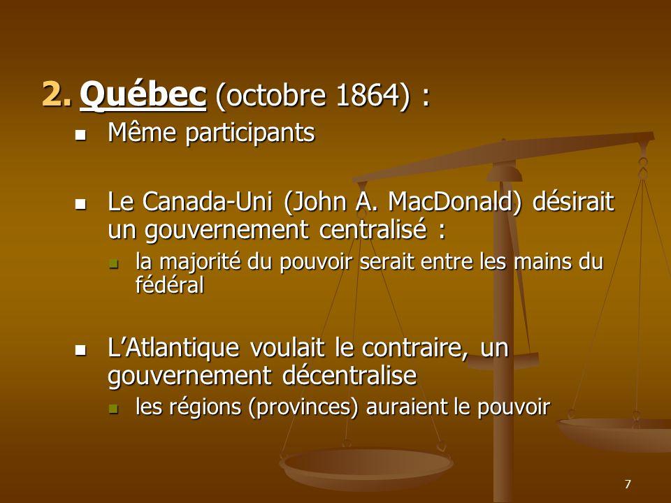 Québec (octobre 1864) : Même participants