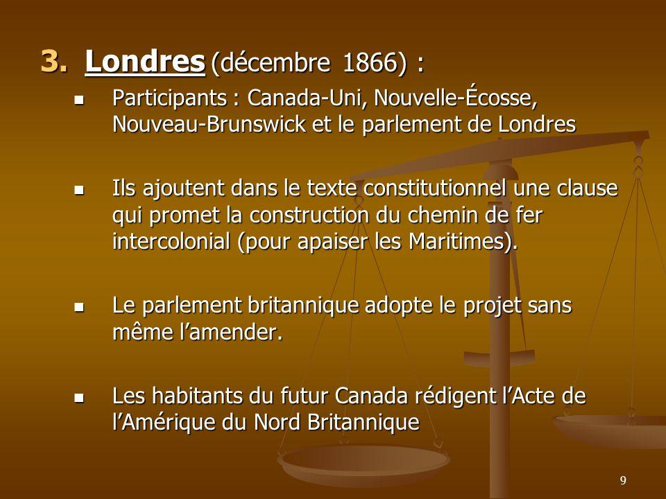 Londres (décembre 1866) : Participants : Canada-Uni, Nouvelle-Écosse, Nouveau-Brunswick et le parlement de Londres.
