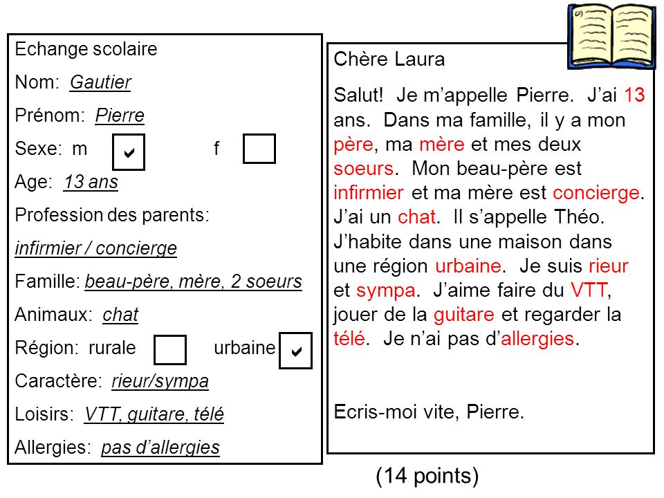 a a (14 points) Chère Laura