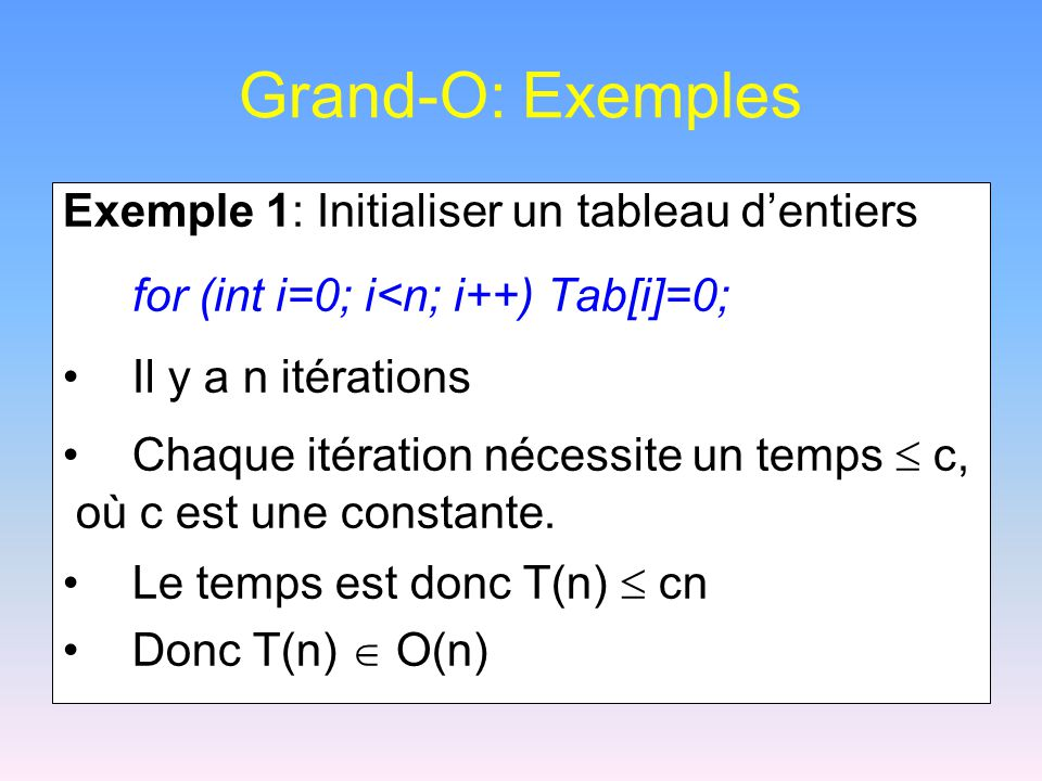 Grand-O: Exemples Exemple 1: Initialiser un tableau d'entiers