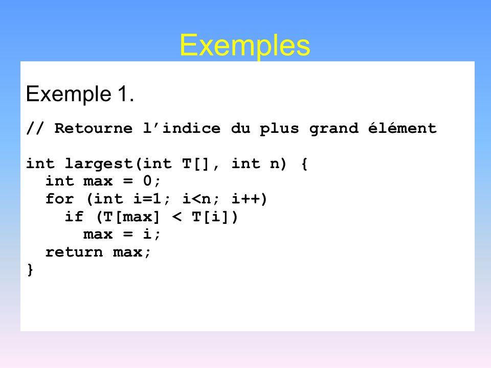 Exemples Exemple 1. // Retourne l'indice du plus grand élément