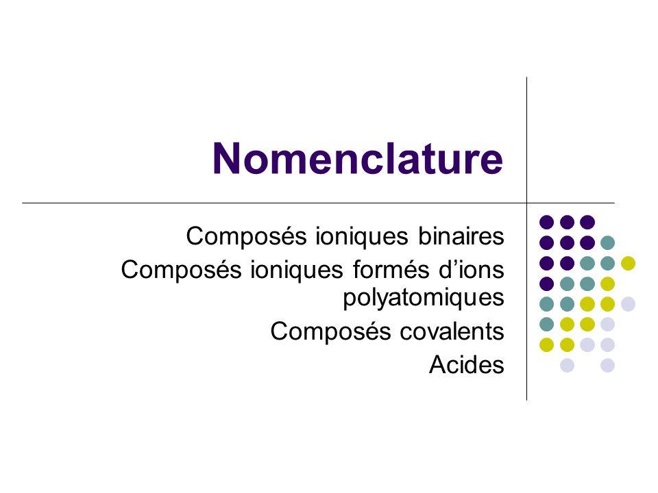 Nomenclature Composés ioniques binaires