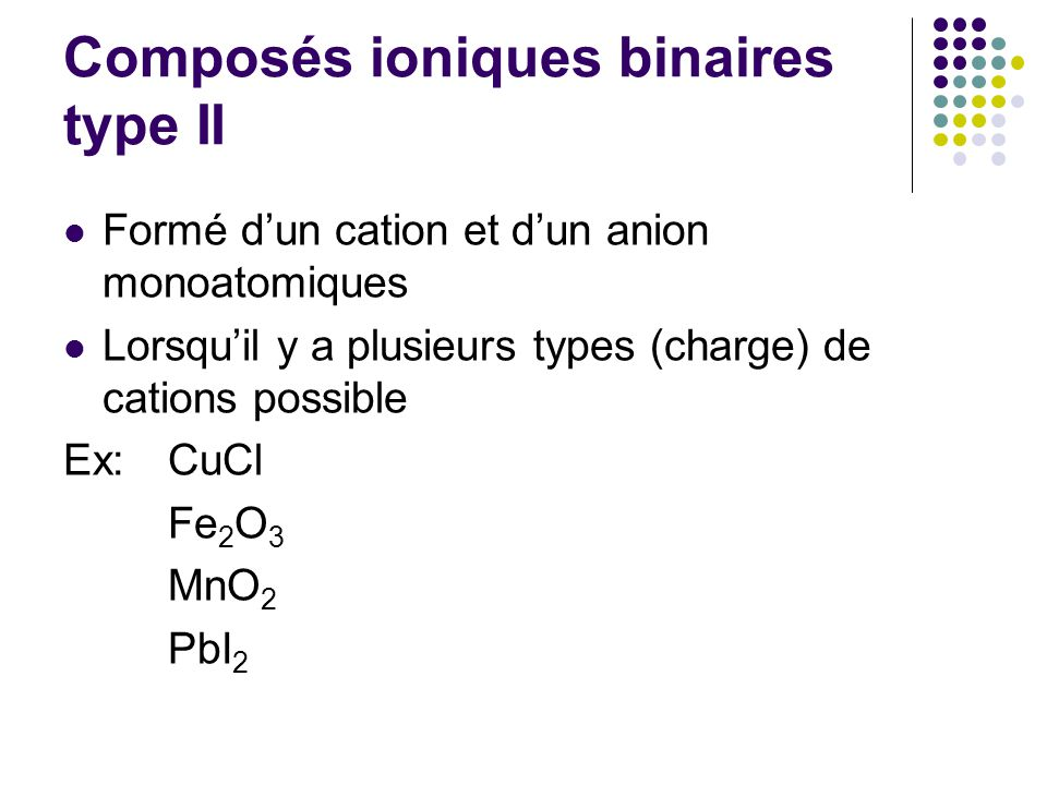 Composés ioniques binaires type II