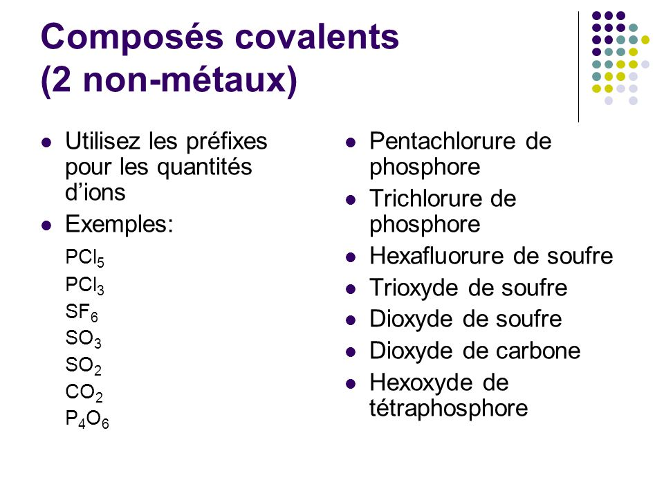 Composés covalents (2 non-métaux)
