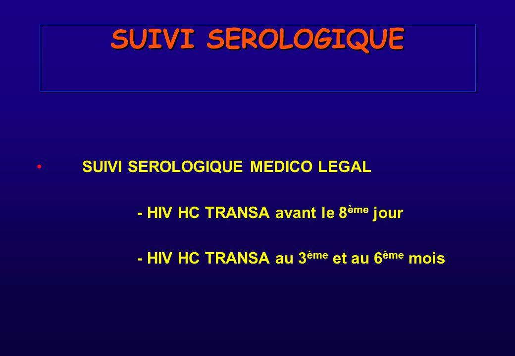 SUIVI SEROLOGIQUE SUIVI SEROLOGIQUE MEDICO LEGAL