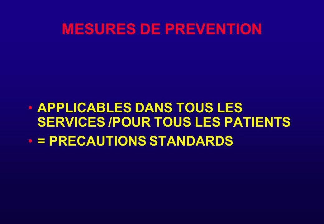 MESURES DE PREVENTION APPLICABLES DANS TOUS LES SERVICES /POUR TOUS LES PATIENTS.