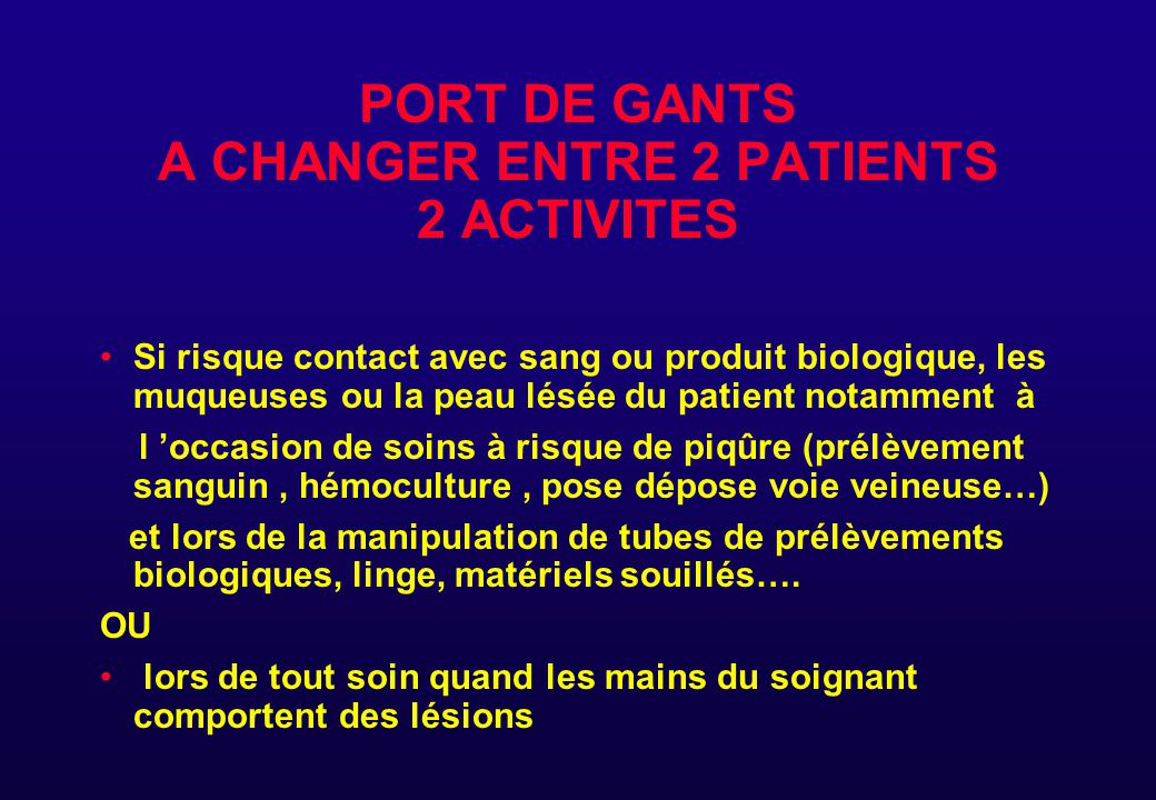 PORT DE GANTS A CHANGER ENTRE 2 PATIENTS 2 ACTIVITES
