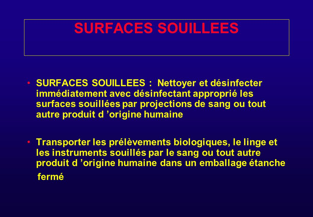SURFACES SOUILLEES