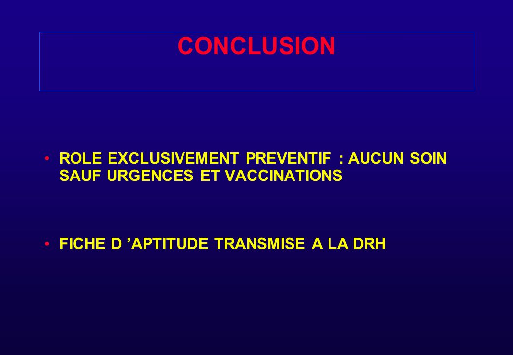 CONCLUSION ROLE EXCLUSIVEMENT PREVENTIF : AUCUN SOIN SAUF URGENCES ET VACCINATIONS.