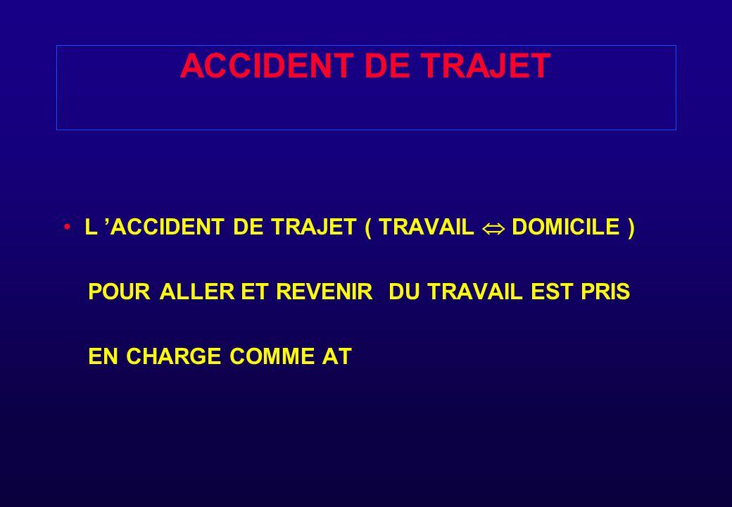 ACCIDENT DE TRAJET L 'ACCIDENT DE TRAJET ( TRAVAIL  DOMICILE )