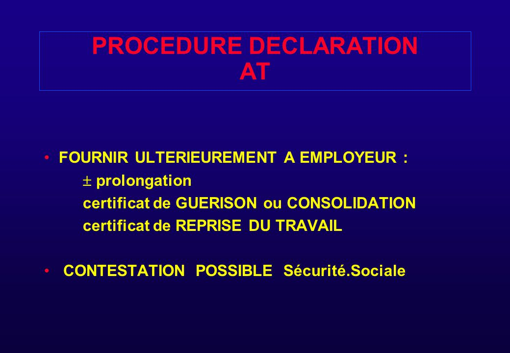 PROCEDURE DECLARATION AT