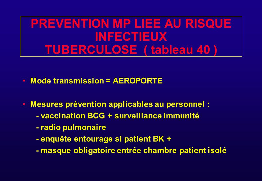 PREVENTION MP LIEE AU RISQUE INFECTIEUX TUBERCULOSE ( tableau 40 )