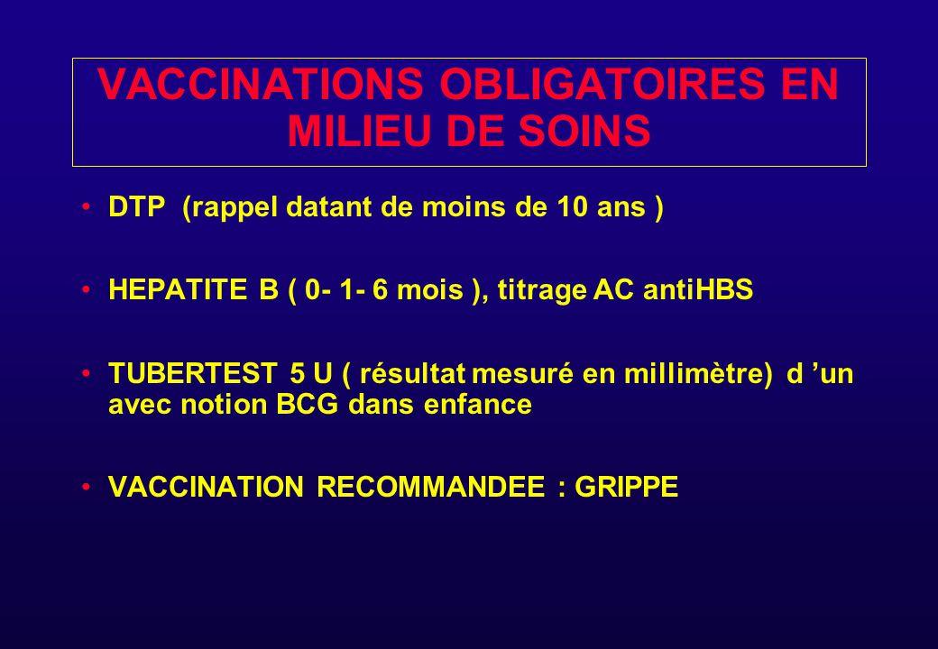 VACCINATIONS OBLIGATOIRES EN MILIEU DE SOINS