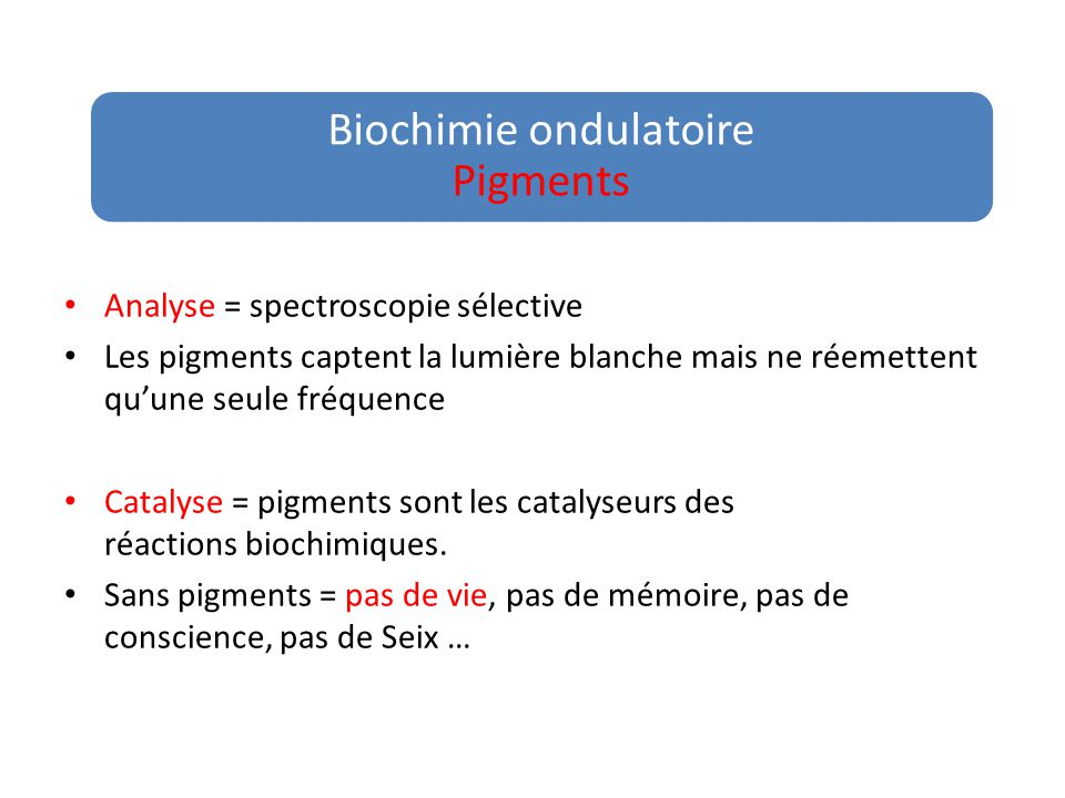 Biochimie ondulatoire Pigments