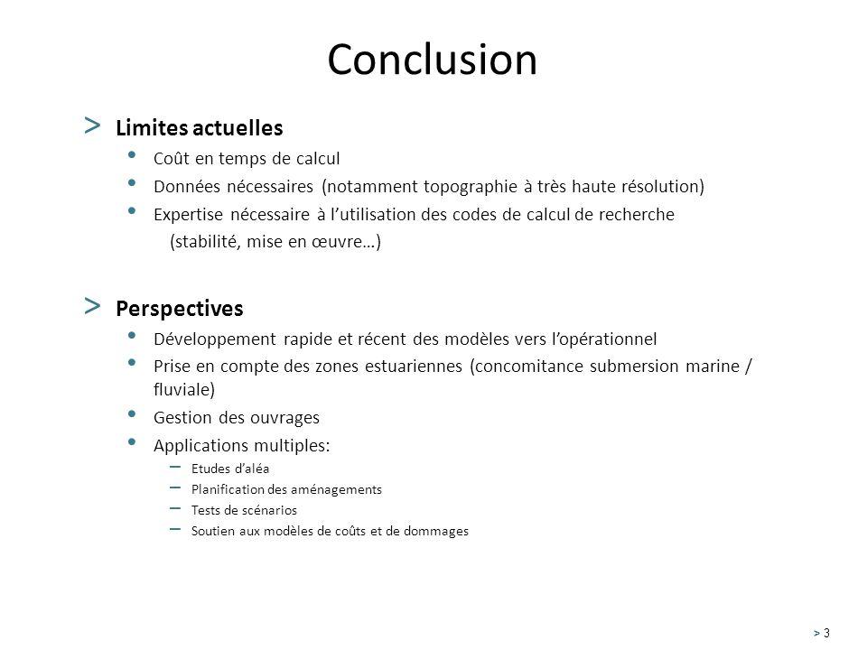 Conclusion Limites actuelles Perspectives Coût en temps de calcul
