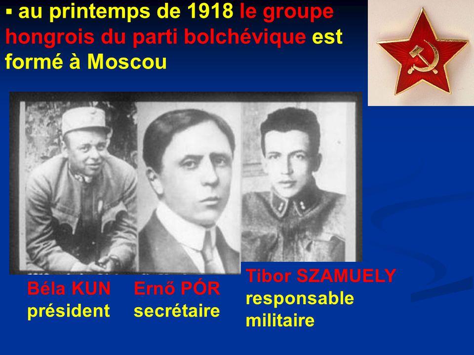 au printemps de 1918 le groupe hongrois du parti bolchévique est formé à Moscou