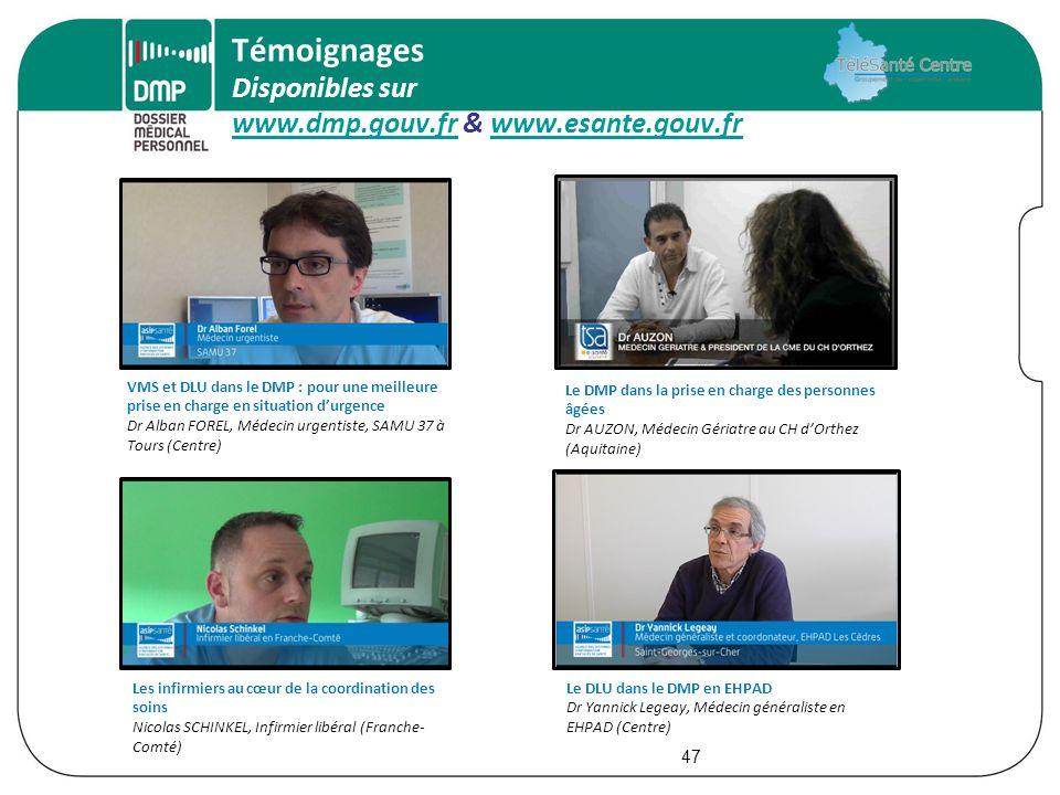 Témoignages Disponibles sur www.dmp.gouv.fr & www.esante.gouv.fr