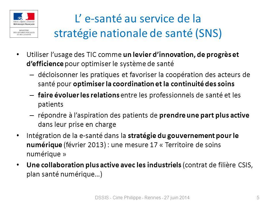 L' e-santé au service de la stratégie nationale de santé (SNS)